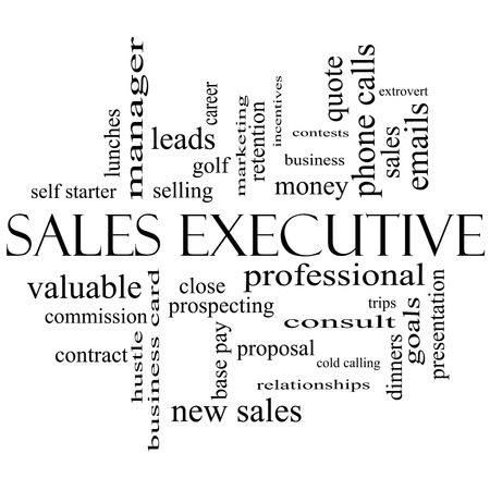 prospecting: Sales Executive Word Cloud Concept in black and white with great terms such as quote, career, prospecting and more.