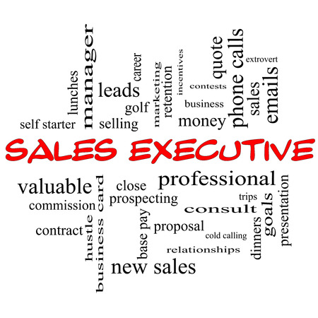 Sales Executive Word Cloud Concept in red caps with great terms such as quote, career, prospecting and more.