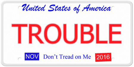 An imitation United States license plate with the word TROUBLE and  November 2016.  Dont tread on me on bottom. photo