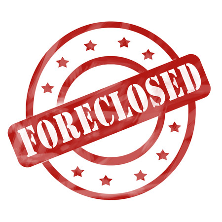 foreclose: A red ink weathered roughed up circles and stars stamp design with the word FORECLOSED on it making a great concept. Stock Photo