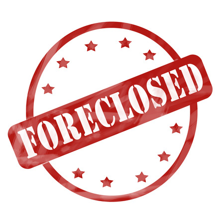foreclosed: A red ink weathered roughed up circle and stars stamp design with the word FORECLOSED on it making a great concept. Stock Photo