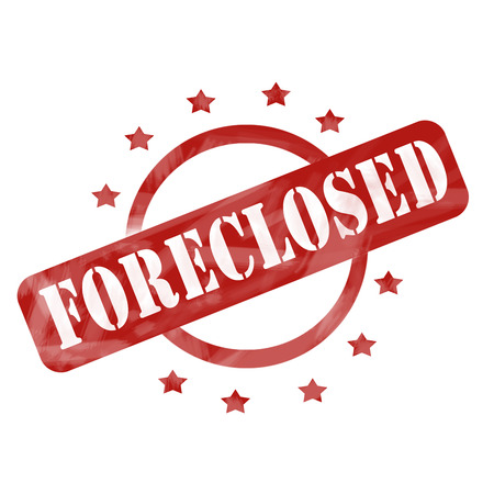 foreclose: A red ink weathered roughed up circle and stars stamp design with the word FORECLOSED on it making a great concept. Stock Photo