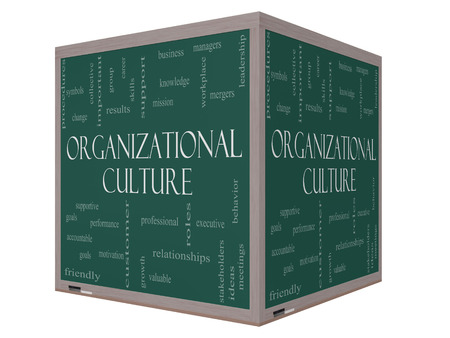 culture: Organizational Culture Word Cloud Concept on a 3D cube Blackboard with great terms such as roles, executive, mergers, mission and more.