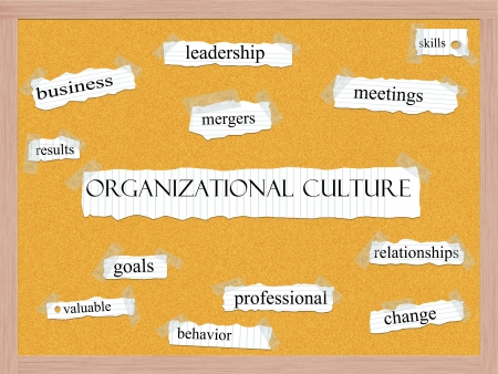 Organizational Culture Corkboard Word Concept with great terms such as leadership, skills, mergers and more. Stock Photo