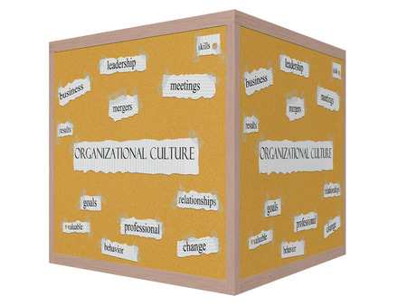 mergers: Organizational Culture 3D cube Corkboard Word Concept with great terms such as leadership, skills, mergers and more. Stock Photo