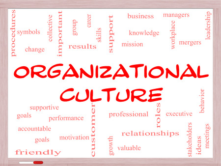 mergers: Organizational Culture Word Cloud Concept on a Whiteboard with great terms such as roles, executive, mergers, mission and more.