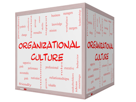 Organizational Culture Word Cloud Concept on a 3D cube Whiteboard with great terms such as roles, executive, mergers, mission and more.