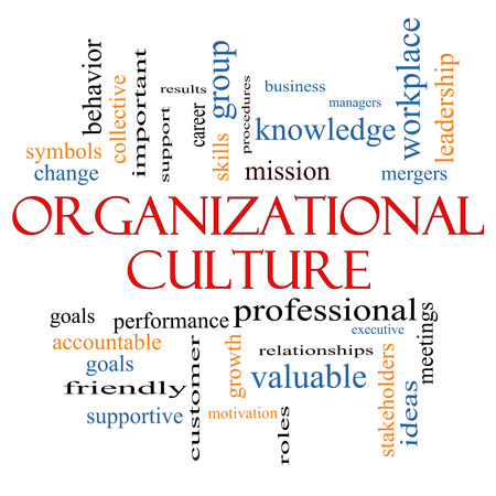 mergers: Organizational Culture Word Cloud Concept with great terms such as roles, executive, mergers, mission and more. Stock Photo
