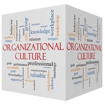 Kultura organizacyjna 3D sześcian Concept Word Cloud z wielkich kategoriach takich jak role, wykonawczej, fuzji, misji i więcej.