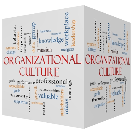 Organizational Culture 3D cube Word Cloud Concept with great terms such as roles, executive, mergers, mission and more. Archivio Fotografico