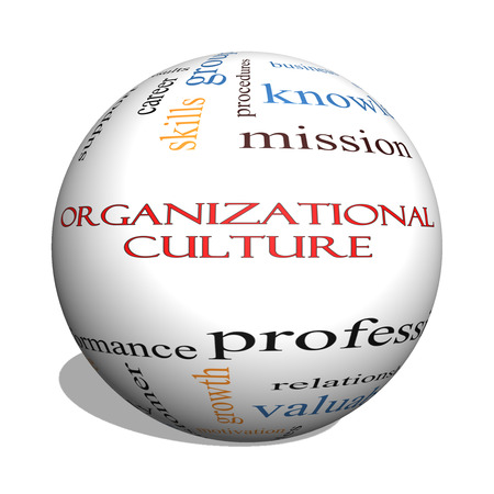 Organizational Culture 3D sphere Word Cloud Concept with great terms such as roles, executive, mergers, mission and more.