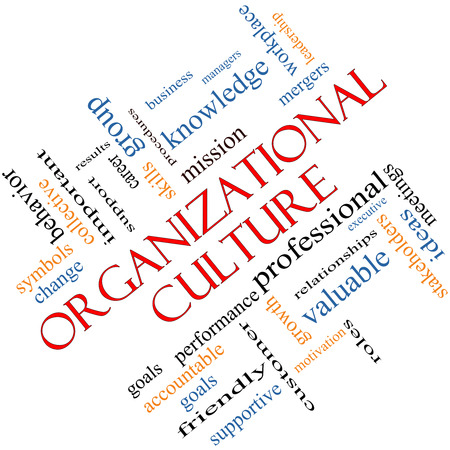 culture: Organizational Culture Word Cloud Concept angled with great terms such as roles, executive, mergers, mission and more. Stock Photo