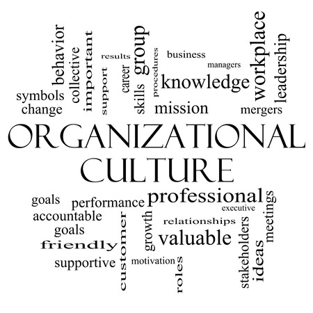 stakeholders: Organizational Culture Word Cloud Concept in black and white with great terms such as roles, executive, mergers, mission and more.