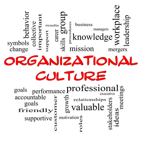 mergers: Organizational Culture Word Cloud Concept in red caps with great terms such as roles, executive, mergers, mission and more.