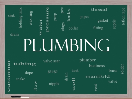 Plumbing Word Cloud Concept on a Blackboard with great terms such as pipes, fitting, plumber and more. photo