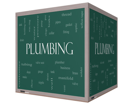 Plumbing Word Cloud Concept on a 3D cube Blackboard with great terms such as pipes, fitting, plumber and more. photo