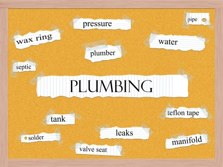 Plumbing Corkboard Word Concept with great terms such as wax ring, pressure, water and more.