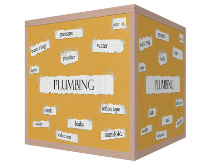 Plumbing 3D cube Corkboard Word Concept with great terms such as wax ring, pressure, water and more. photo