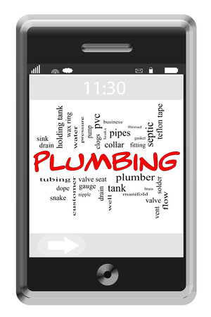 Plumbing Word Cloud Concept of Touchscreen Phone with great terms such as water, well, pipes and more. photo
