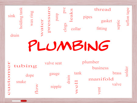 Plumbing Word Cloud Concept on a Whiteboard with great terms such as pipes, fitting, plumber and more. photo
