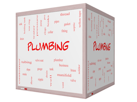 Plumbing Word Cloud Concept on a 3D cube Whiteboard with great terms such as pipes, fitting, plumber and more. photo