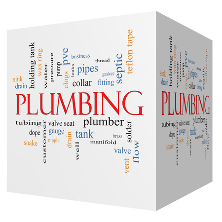 Plumbing 3D cube Word Cloud Concept with great terms such as pipes, fitting, plumber and more. photo