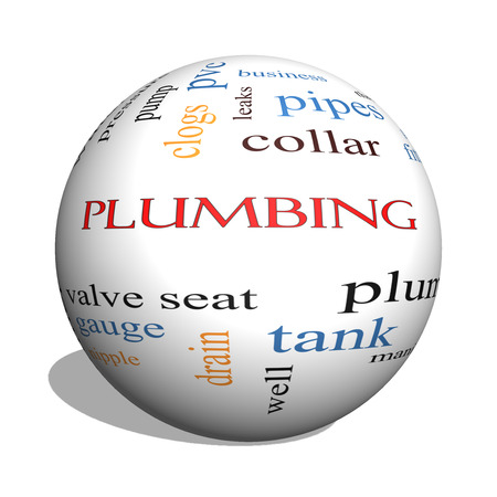 Plumbing 3D sphere Word Cloud Concept with great terms such as pipes, fitting, plumber and more. photo