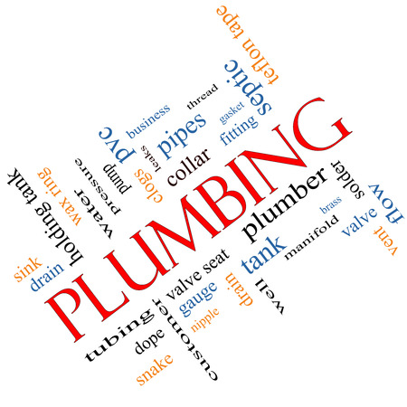 Plumbing Word Cloud Concept angled with great terms such as pipes, fitting, plumber and more. photo