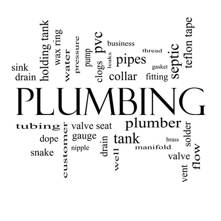 Plumbing Word Cloud Concept in black and white with great terms such as pipes, fitting, plumber and more. photo