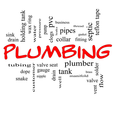 Plumbing Word Cloud Concept in red caps with great terms such as pipes, fitting, plumber and more. photo