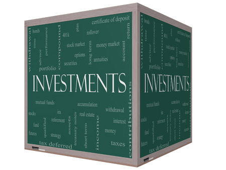 Investments Word Cloud Concept on a 3D cube Blackboard with great terms such as mutual funds, stocks, options and more. photo
