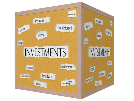 Investments 3D cube Corkboard Word Concept with great terms such as securities, interest, options and more. photo