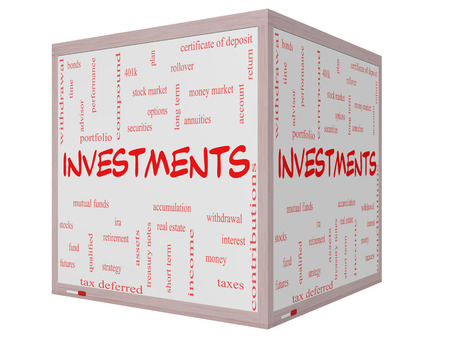 compound: Investments Word Cloud Concept on a 3D cube Whiteboard with great terms such as mutual funds, stocks, options and more. Stock Photo