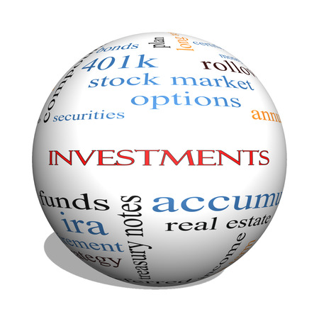Investments 3D sphere Word Cloud Concept with great terms such as mutual funds, stocks, options and more. Stock Photo