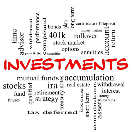 Investments Word Cloud Concept in red caps with great terms such as mutual funds, stocks, options and more.