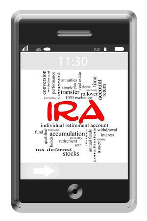 rendite: IRA Word Cloud Concetto di cellulare touchscreen con termini quali il pensionamento, conto, attivit� e molto altro ancora.