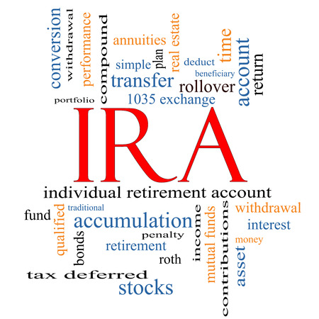 IRA Word Cloud Concept with great terms such as individual, retirement, account, plan and more.