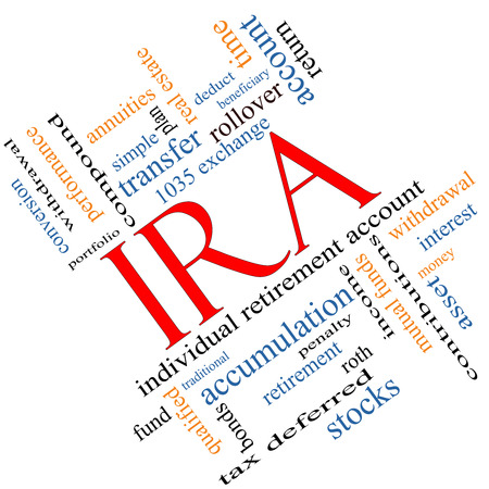 ira: IRA Word Cloud Concept angled with great terms such as individual, retirement, account, plan and more.