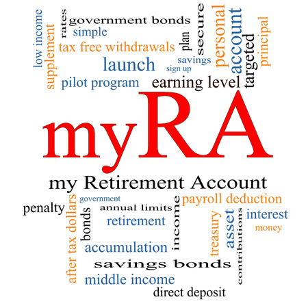 contributions: myRA Word Cloud Concept with great terms such as my retirement account, government and more.