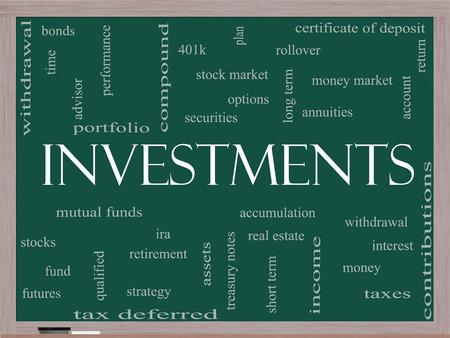 投資投資信託、株式、オプションなどの偉大な条件で黒板に単語雲の概念。