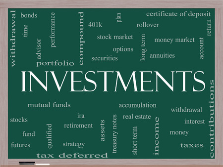 Investments Word Cloud Concept on a Blackboard with great terms such as mutual funds, stocks, options and more. Imagens - 25585539