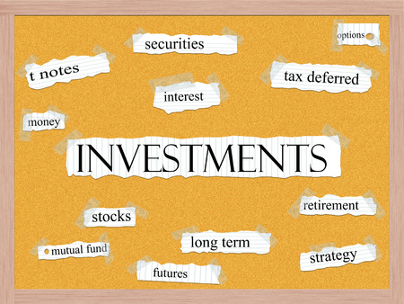 Investments Corkboard Word Concept with great terms such as securities, interest, options and more. photo