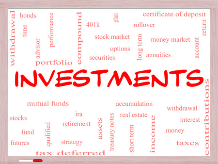 Investments Word Cloud Concept on a Whiteboard with great terms such as mutual funds, stocks, options and more. photo