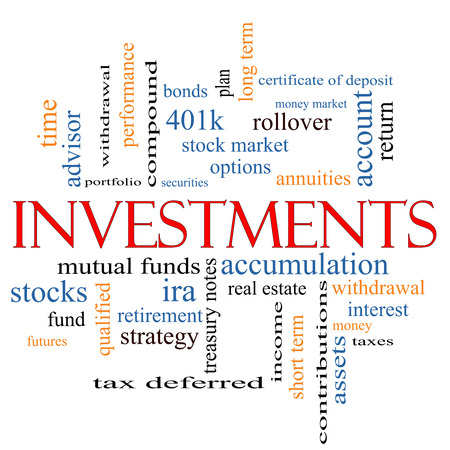 Investments Word Cloud Concept with great terms such as mutual funds, stocks, options and more. photo