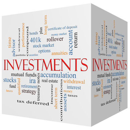 Investments 3D cube Word Cloud Concept with great terms such as mutual funds, stocks, options and more. Stock Photo