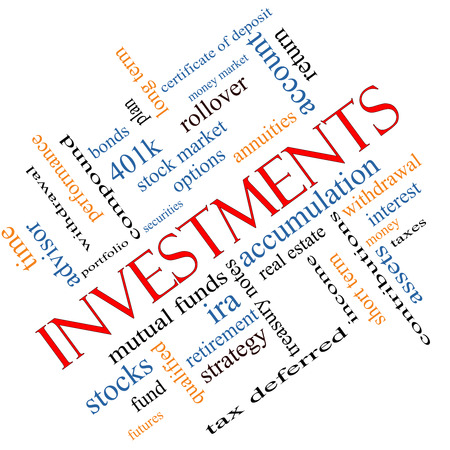 Investments Word Cloud Concept angled with great terms such as mutual funds, stocks, options and more. photo