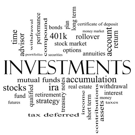 Investments Word Cloud Concept in black and white with great terms such as mutual funds, stocks, options and more. photo