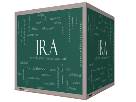 ira: IRA Word Cloud Concept on a 3D cube Blackboard with great terms such as individual, retirement, account, plan and more. Stock Photo