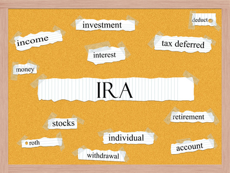 deduct: IRA Corkboard Word Concept with great terms such as retirement, account, money and more.