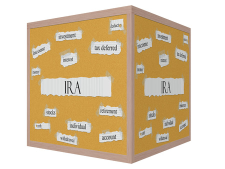 ira: IRA 3D cube Corkboard Word Concept with great terms such as retirement, account, money and more.